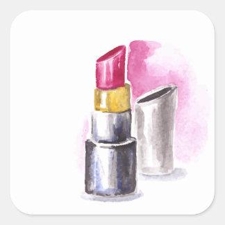Adesivo Quadrado Batom cor-de-rosa
