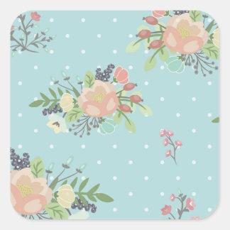 Adesivo Quadrado Beauty seamless floral pattern
