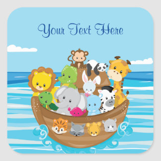 Adesivo Quadrado Bebê animais arca | de | Noah personalizado