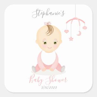 Adesivo Quadrado Bebé bonito e seu chá de fraldas móvel