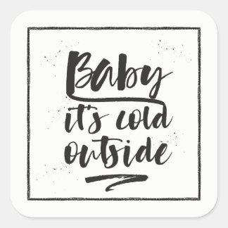 Adesivo Quadrado Bebê é parte externa fria - a coleção do inverno -