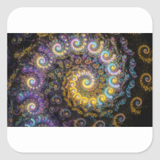 Adesivo Quadrado Beleza do fractal do nautilus
