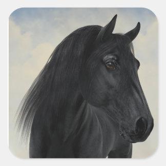 Adesivo Quadrado Beleza preta - retrato preto do cavalo do frisão
