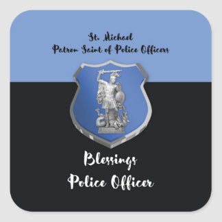 Adesivo Quadrado Bênçãos de St Michael ao agente da polícia novo