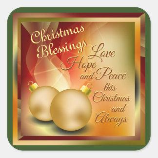 Adesivo Quadrado Bênçãos do Natal, paz da esperança do amor