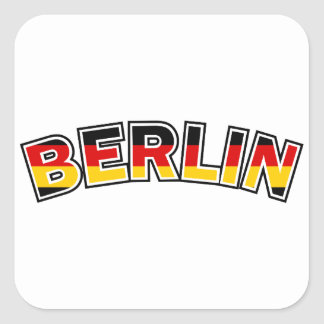 Adesivo Quadrado Berlin, text with Germany flag colors