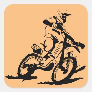 Adesivo Quadrado Bicicleta e cavaleiro simples de Motorcross