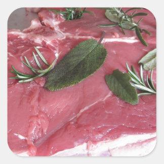 Adesivo Quadrado Bife marmoreado cru fresco da carne