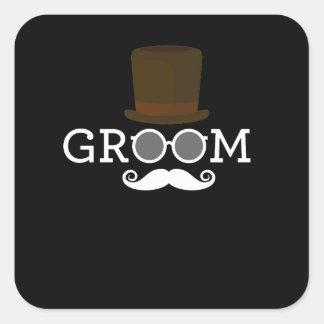 Adesivo Quadrado Bigode & chapéu engraçados do noivo para o partido