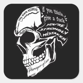 Adesivo Quadrado Black Skull