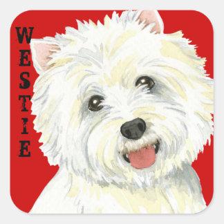 Adesivo Quadrado Bloco da cor de Westie
