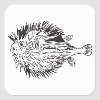 Adesivo Quadrado Blowfish do Porcupinefish aka