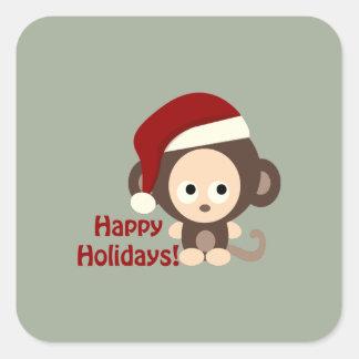 Adesivo Quadrado Boas festas macaco bonito do papai noel