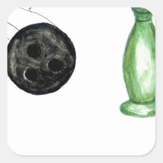 Adesivo Quadrado Bola de boliche Sketch3
