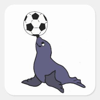 Adesivo Quadrado Bola de futebol de mnanipulação animal do selo