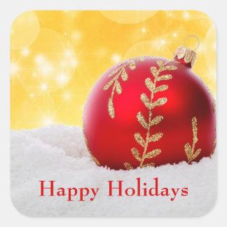 Adesivo Quadrado Bola do Natal da neve de Bokeh do Natal