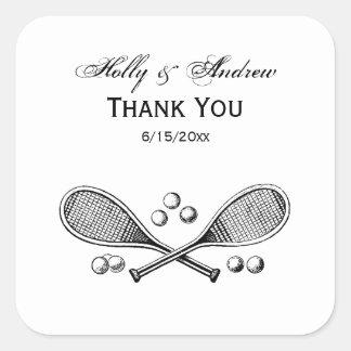 Adesivo Quadrado Bolas de tênis cruzadas vintage da raquete de
