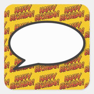 Adesivo Quadrado Bolha do discurso do feliz aniversario do pop art