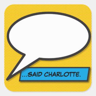 Adesivo Quadrado Bolha personalizada do discurso do pop art da