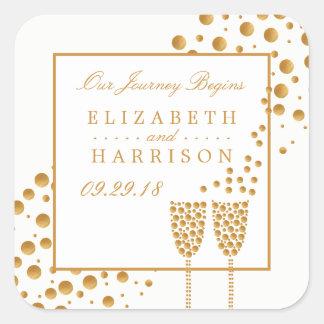 Adesivo Quadrado Bolhas de Champagne do ouro que Wedding