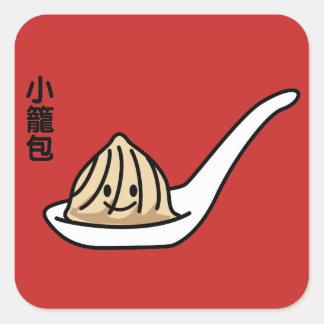 Adesivo Quadrado Bolo chinês de Dim Sum da bolinha de massa da sopa