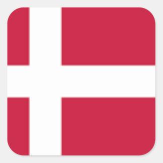 Adesivo Quadrado Bom impressão da bandeira de Dinamarca da cor