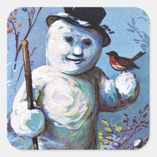 Adesivo Quadrado Boneco de neve -