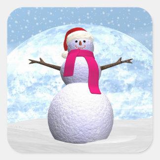 Adesivo Quadrado Boneco de neve - 3D rendem