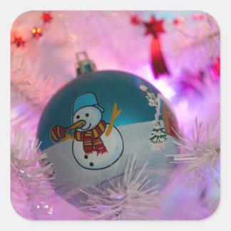 Adesivo Quadrado Boneco de neve - bolas do Natal - Feliz Natal