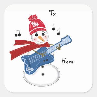 Adesivo Quadrado Boneco de neve do guitarrista