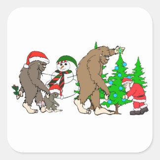 Adesivo Quadrado Boneco de neve do papai noel de Bigfoot