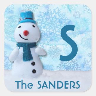 Adesivo Quadrado Boneco de neve feliz com nariz vermelho