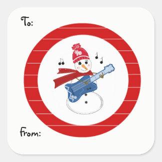 Adesivo Quadrado Boneco de neve que joga a guitarra