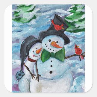 Adesivo Quadrado Bonecos de neve de visita cardinais