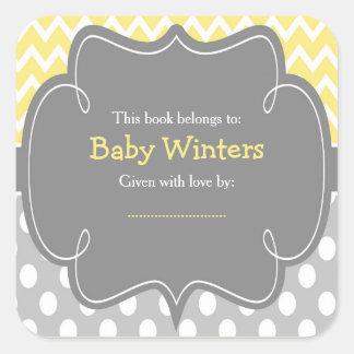 Adesivo Quadrado Bookplate amarelo e cinzento do chá de fraldas de