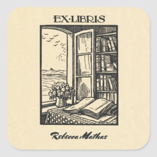 Adesivo Quadrado Bookplate antigo que grava Henri Bacher Libris ex