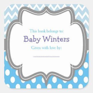 Adesivo Quadrado Bookplate azul & branco do chá de fraldas de