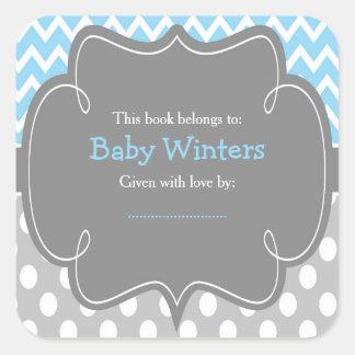 Adesivo Quadrado Bookplate azul & cinzento do chá de fraldas de