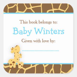 Adesivo Quadrado Bookplate azul do chá do girafa da mamã e do bebê