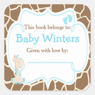 Adesivo Quadrado Bookplate azul do chá do girafa do bebê