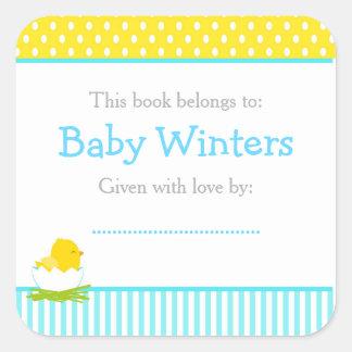 Adesivo Quadrado Bookplate azul e amarelo do chá de fraldas do