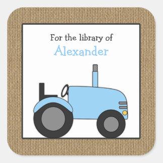 Adesivo Quadrado Bookplate azul pequeno da biblioteca do trator