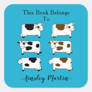 Adesivo Quadrado Bookplate bonito das vacas de leiteria dos