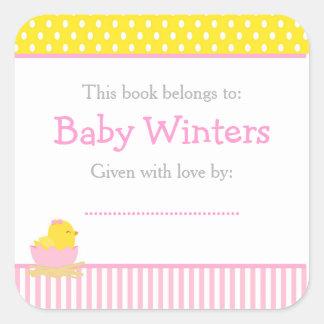 Adesivo Quadrado Bookplate cor-de-rosa e amarelo do chá de fraldas