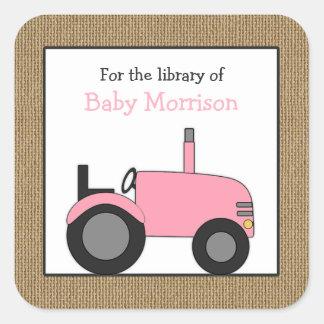 Adesivo Quadrado Bookplate cor-de-rosa pequeno da biblioteca do