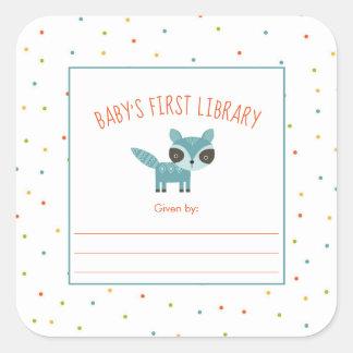 Adesivo Quadrado Bookplate da biblioteca do bebê bonito do guaxinim