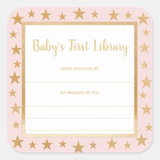 Adesivo Quadrado Bookplate da biblioteca do bebê o primeiro, cora