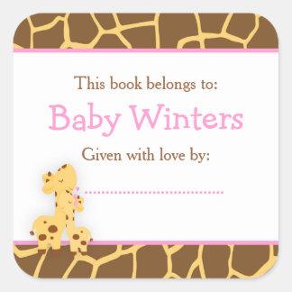 Adesivo Quadrado Bookplate do chá do girafa da mamã e do bebê