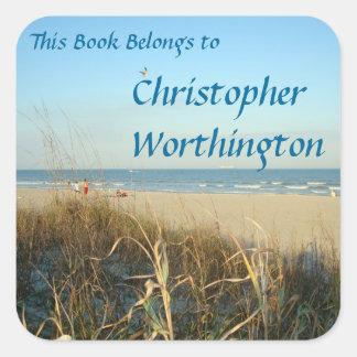 Adesivo Quadrado Bookplate do no. 3 da cena da praia do primavera