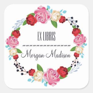 Adesivo Quadrado Bookplate floral na moda da grinalda dos rosas